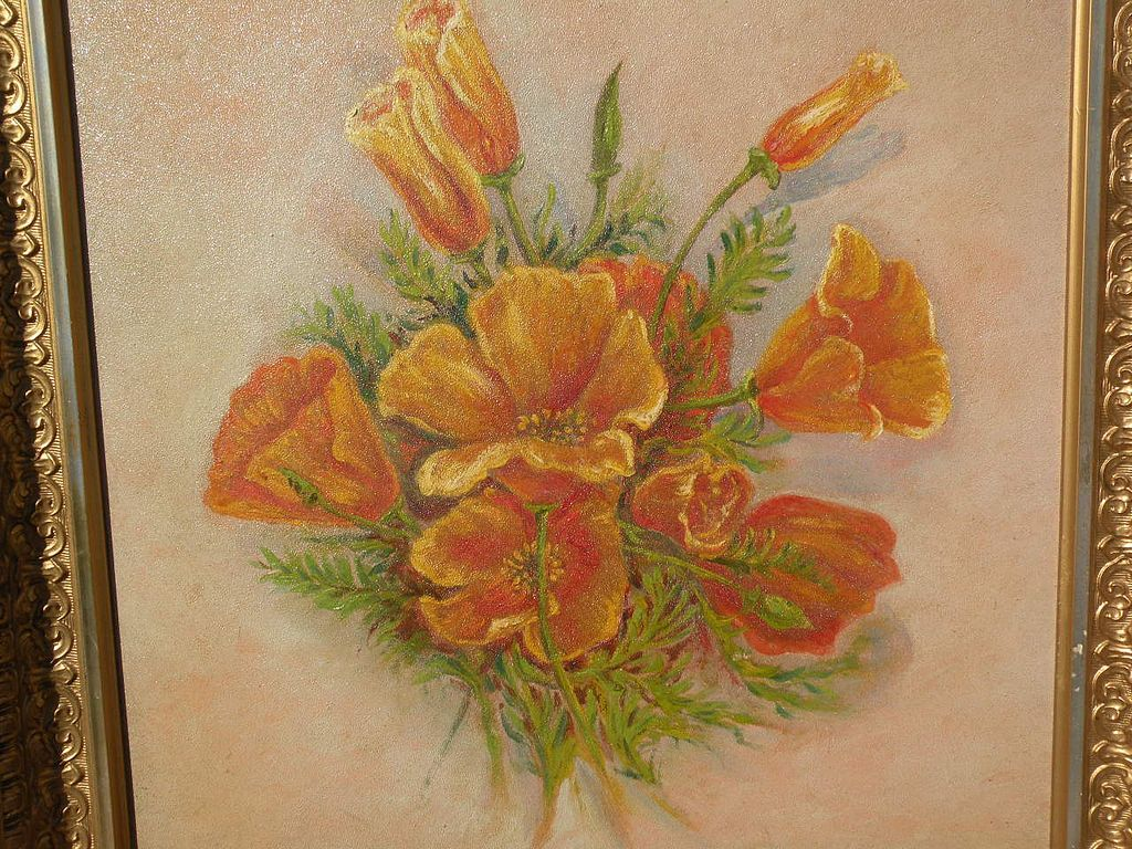 Vintage California art still life painting of poppies circa 1900