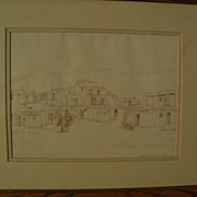 GEOFFREY JENKINSON ( -2006) listed Arizona artist Taos New Mexico drawing