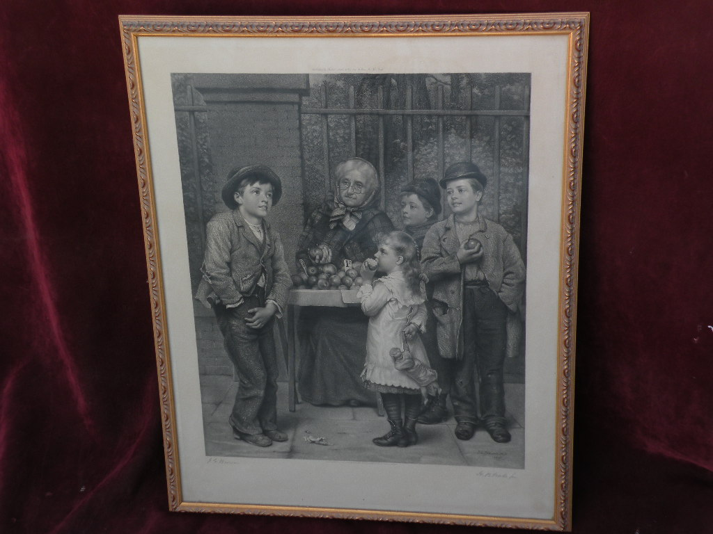 JOHN GEORGE BROWN (1831-1913) important American artist print PENCIL SIGNED large engraving 1881