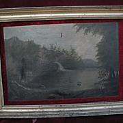 Hudson River style circa 1880 primitive American landscape painting original gilt frame