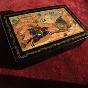 Decorative Russian folk art contemporary lacquer box impressive design