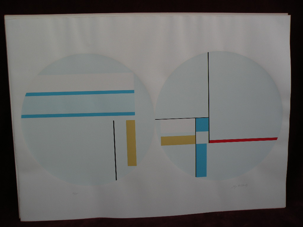 ILYA BOLOTOWSKY (1907-1981) Mondrian inspired limited edition large geometric abstract screenprint