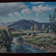 CLAUDINE MORROW (1931-) contemporary western American art rural mountain landscape painting with river and horses