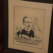 FRED MORGAN (1856-1927) important English artist political cartoon ink drawing