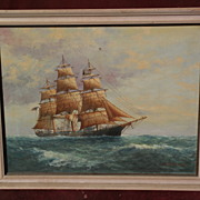 L. PAPALUCA (Jr.) son of famous marine artist painting of clipper ship on the high seas