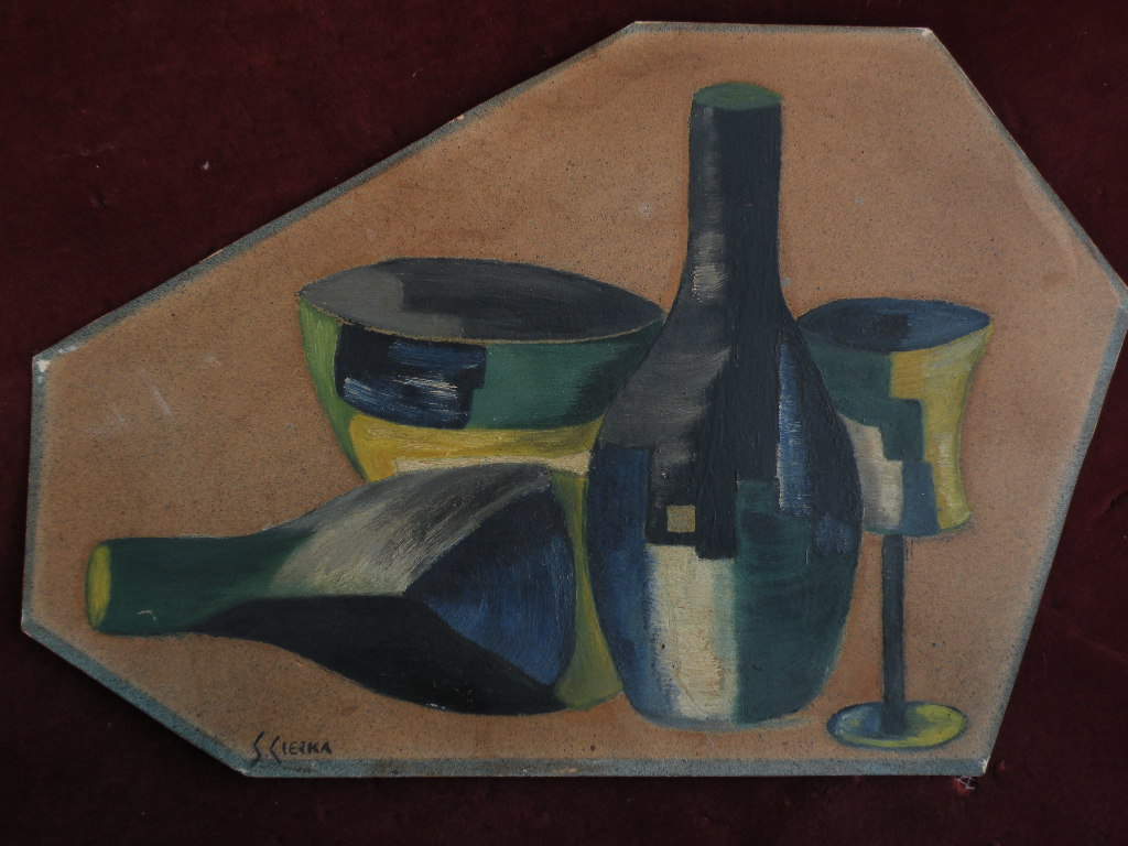Cubist tabletop still life art signed by possibly Polish artist circa 1940