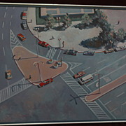Contemporary American painting streets seen from above style of Wayne Thiebaud