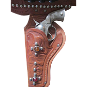 Vintage Embossed Leather Toy Holster with PET Cap Gun