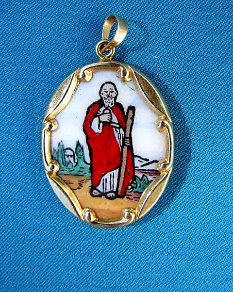 14-K gold, St. Jude (San Judas Tadeo) pendant