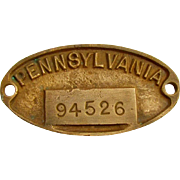 PRR (PENNSYLVANIA) railroad - heavy brass equipment numbered identification plate