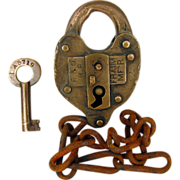 B&O (Baltimore & Ohio) Railroad Brass SWITCH LOCK & key, Fraim Co