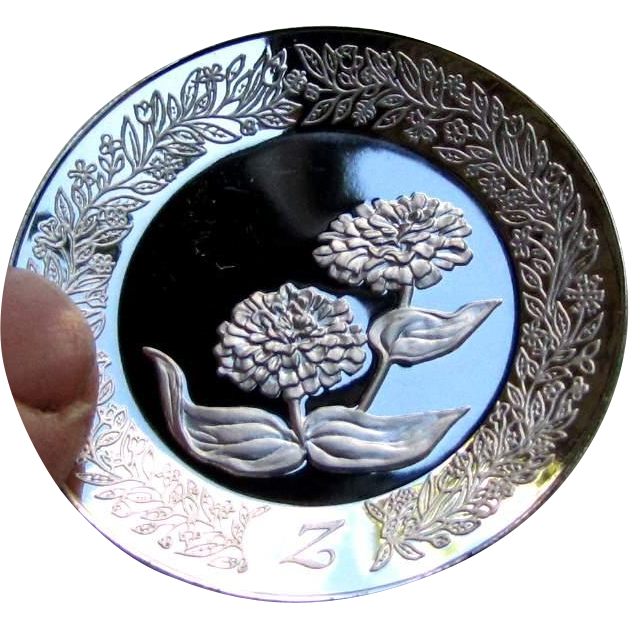 26 Sterling Silver FLOWER PLATES, Franklin Mint series, each a letter of alphabet