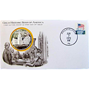 GREAT HISTORIC SITES OF AMERICA- Franklin Mint, 50 state STERLING SILVER medals on First Day stamped/mailed covers