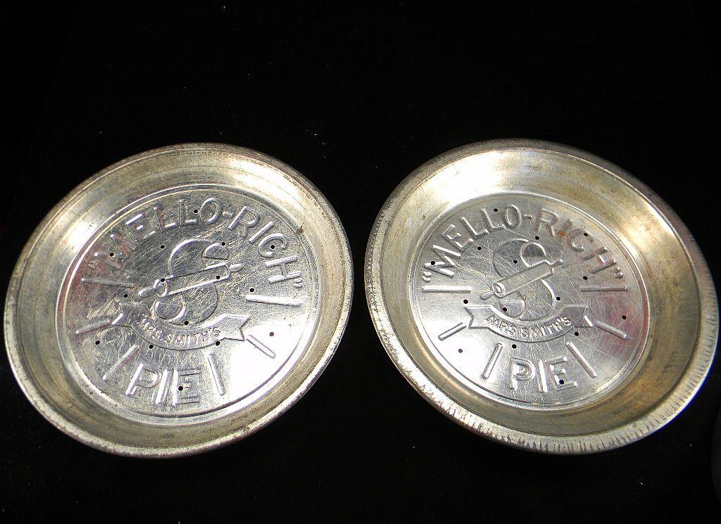 Two Vintage Mrs. Smith's Mello-Rich Pie Tins