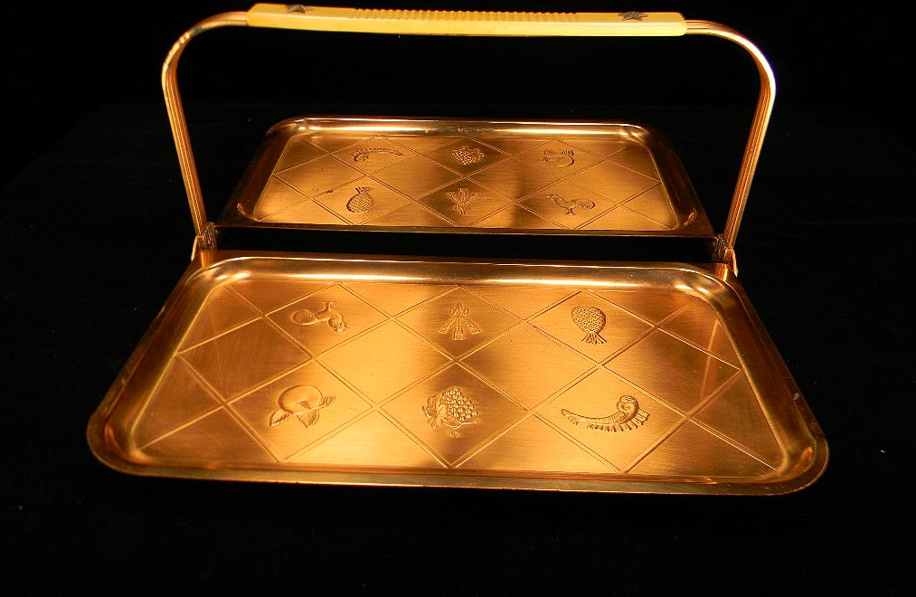 Vintage Copper-Colored Folding Serving Tray