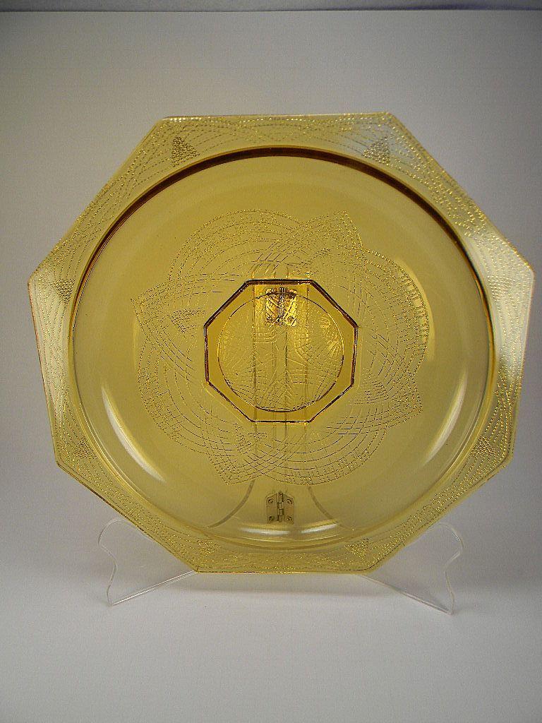 Vintage 1930's Amber Romanesque Console Bowl