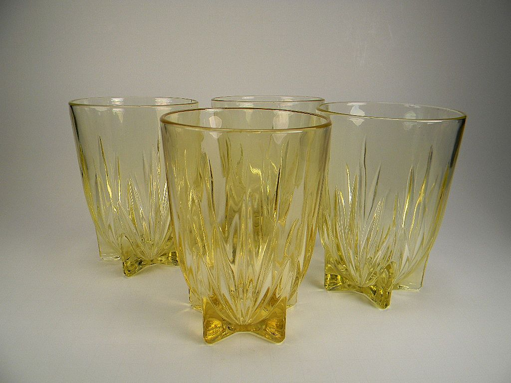 Four Yellow Star Water Tumblers by Federal Glass Co.
