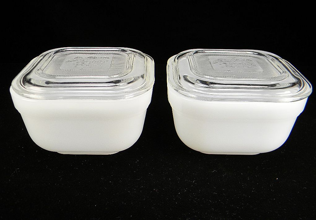 Two Balkan Yogurt White Refrigerator Dishes with Crystal Lids