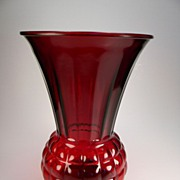 Vintage 1940's Royal Ruby Red Pineapple Vase (R597)