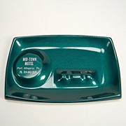 Vintage Green Metal Advertising Mid-Town Motel Ashtray