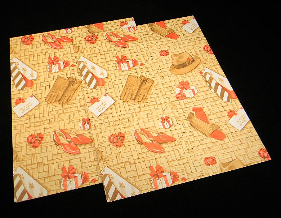 Two Sheets Vintage Wrapping Paper