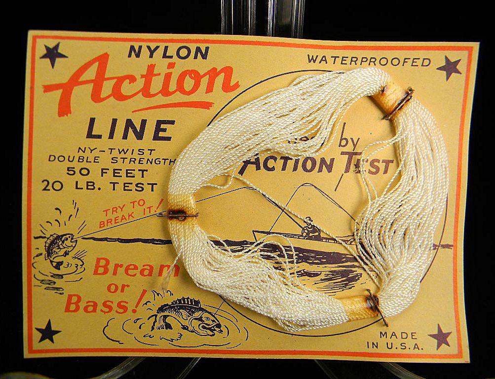 "Vintage ""Action"" Nylon Line on Original Card"