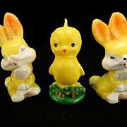 Three Vintage Gurley Easter Figural Candles with Original Labels