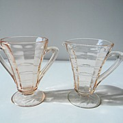 Pink Block Optic Creamer & Sugar by Hocking Glass