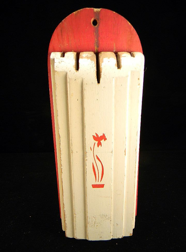 1930's Red & White Nuway Kitchen Knife Holder with Original Label