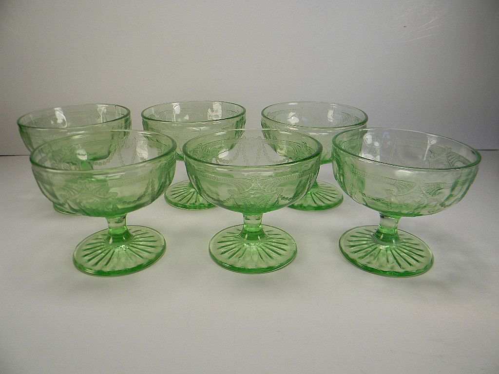 """Six Green Cameo """"Ballerina"""" Sherbets by Hocking Glass Co."""