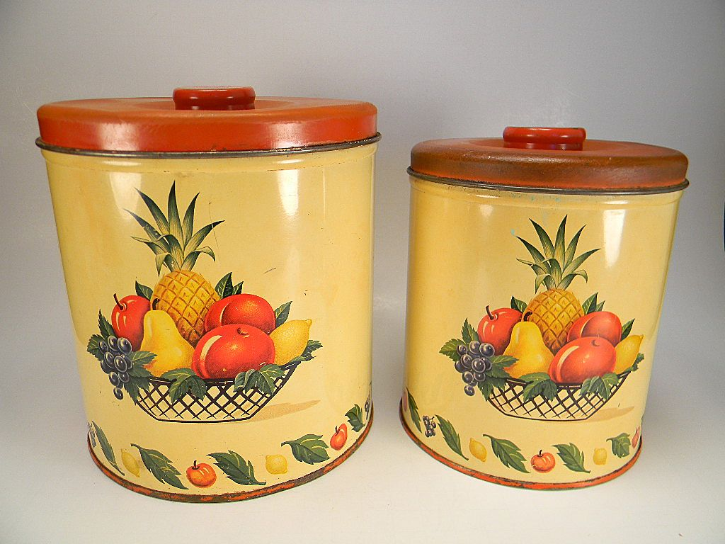 Two Vintage Decoware Fruits Pattern Canisters