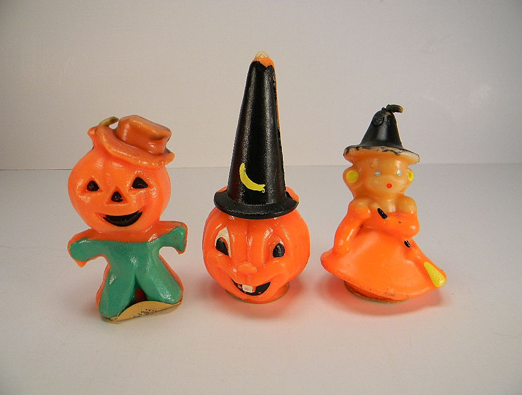 Three Vintage Gurley Halloween Figural Candles with Original Labels