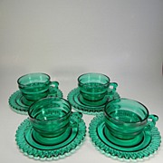 Four Rare Terrace Green Christmas Candy Cups & Saucers by Indiana Glass