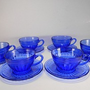 Six Cobalt Blue Aurora Cups & Saucers