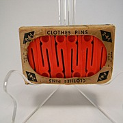 Vintage Red Plastic 2-4-1 Clothes Pins in Original Box