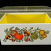 Vintage J.Chen Recipe Box with Clear Plastic Top