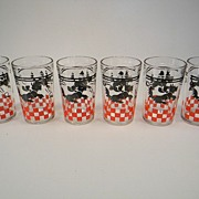 Six Hazel Atlas Scottie Dog Tumblers
