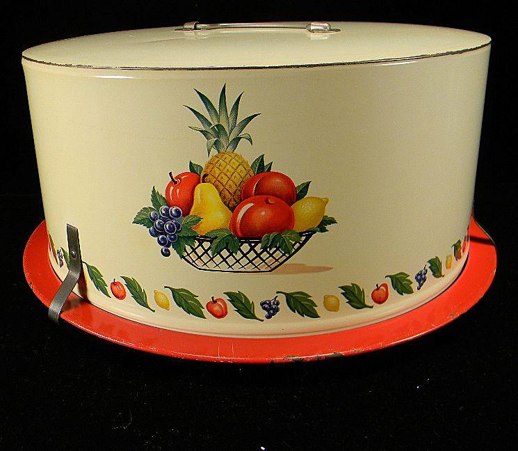 Vintage Decoware Fruits Pattern Cake Carrier