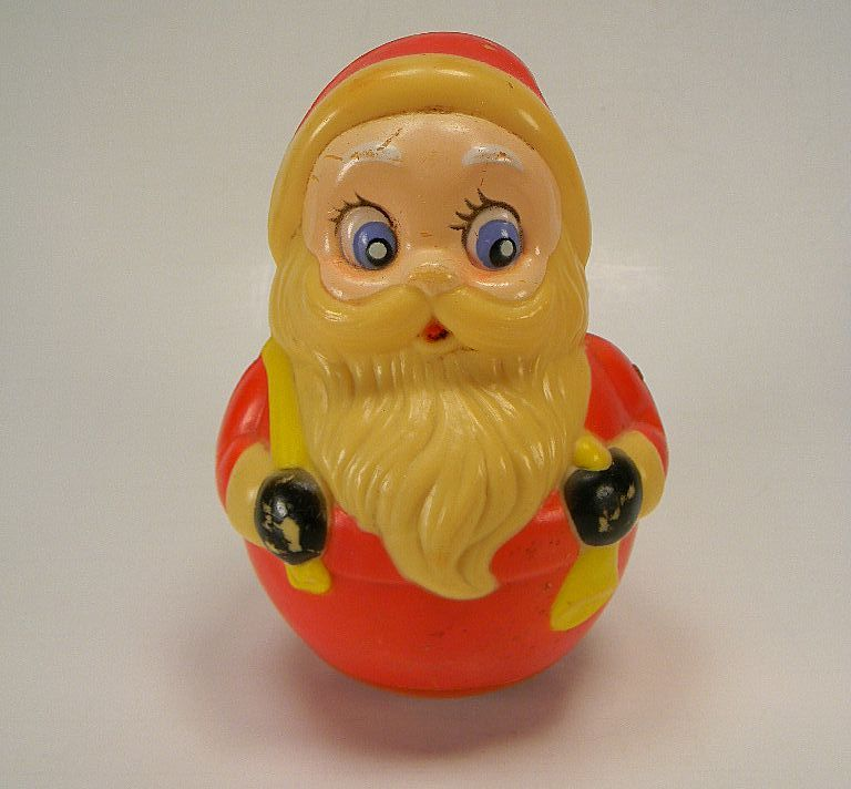 Vintage Plastic Roly Poly Santa Claus Toy Chime