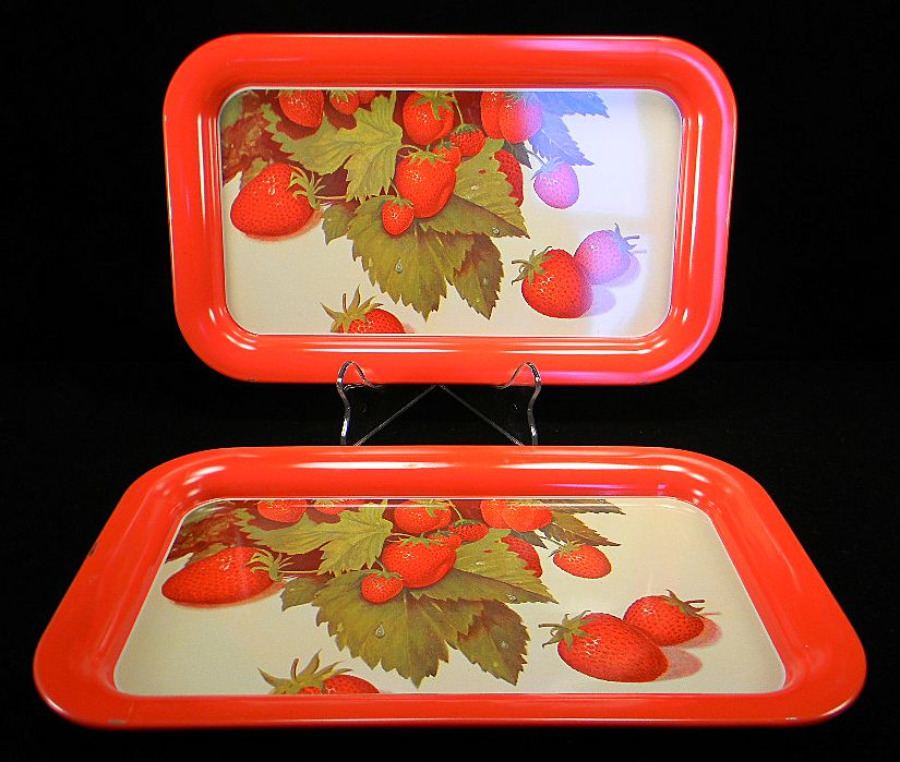 Two Red Serving Trays with Strawberry Motif