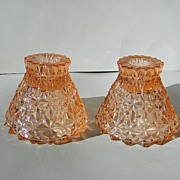 "Pink Holiday ""Button & Bows"" Candlesticks by Jeannette Glass Co."