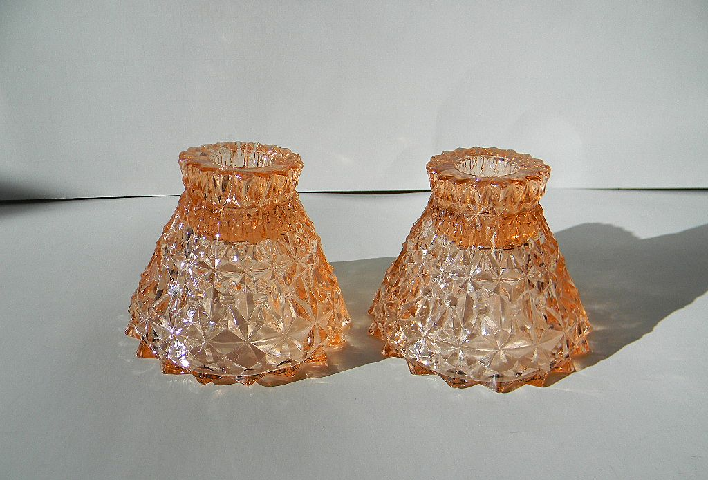 """Pink Holiday """"Button & Bows"""" Candlesticks by Jeannette Glass Co."""