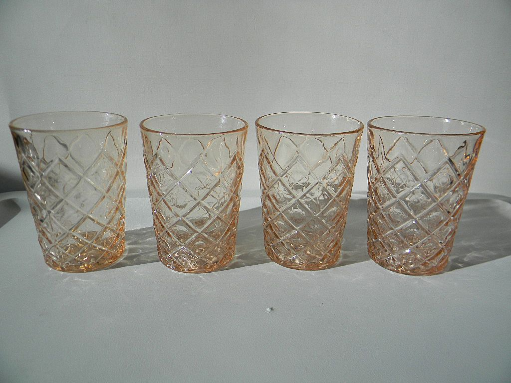 Four Hard-to-Find Pink Diamond with Thumbprint Juice Tumblers by Hazel Atlas