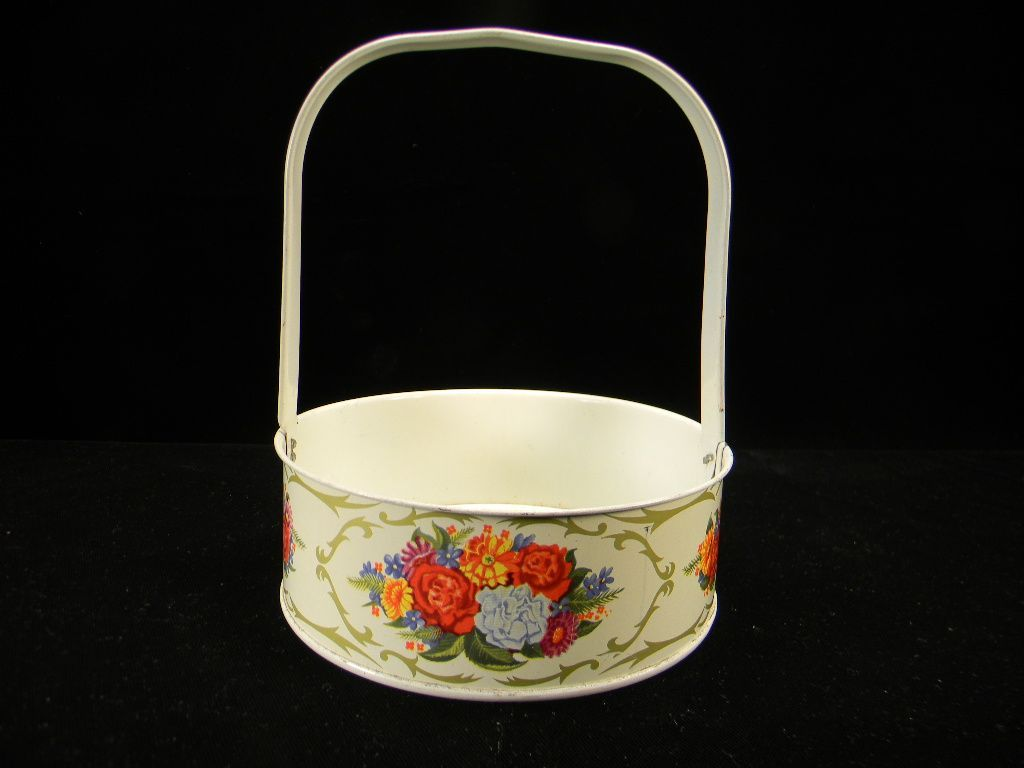 Vintage Metal Basket with Floral Motif & Original Price Sticker