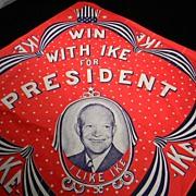 """Vintage 1950's """" I Like Ike"""" Portrait Bandana"""