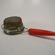 Vintage 1930's Androck Strainer with Red Bullet Bakelite Handle
