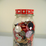 Vintage Ball Jar of Colorful Buttons with Red Anchor Hocking Coffee Lid