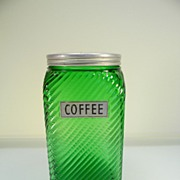 Vintage Forest Green Owens-Illinois Diagonal Ridged Coffee Canister