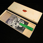 Vintage 1930's Cake Breaker with Apple Green Swirl Bakelite Handle in Original Box with Original Price Tag