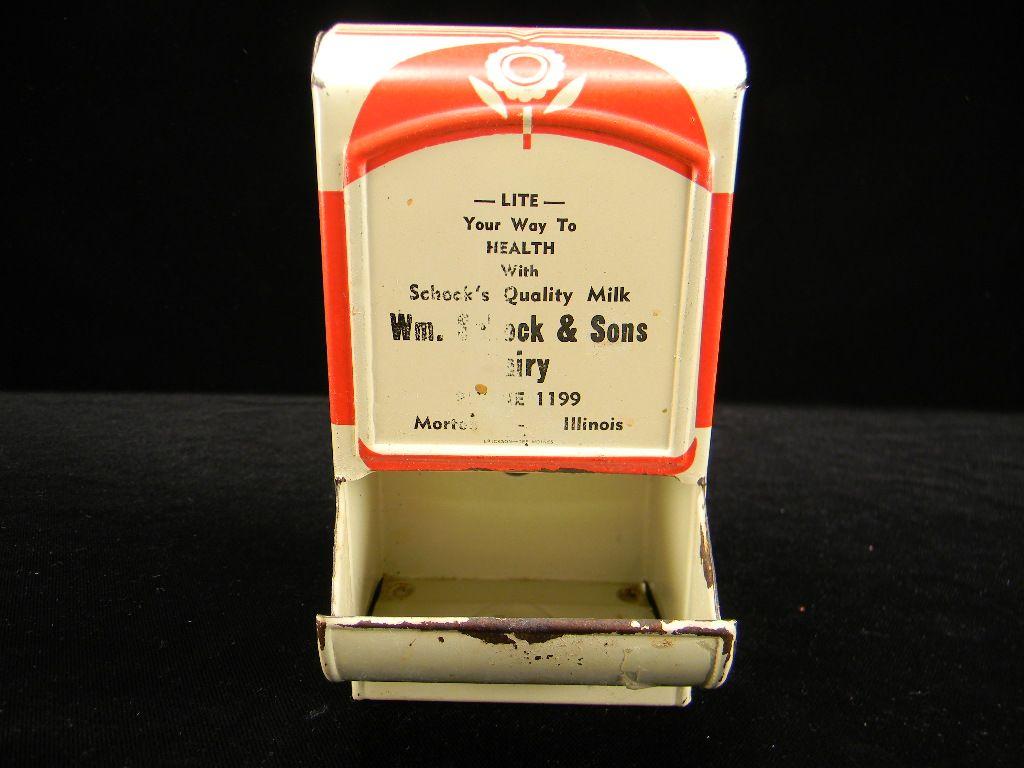 """Vintage Red & Cream Advertising """"Wm. Schock & Sons Dairy"""" Match Safe"""